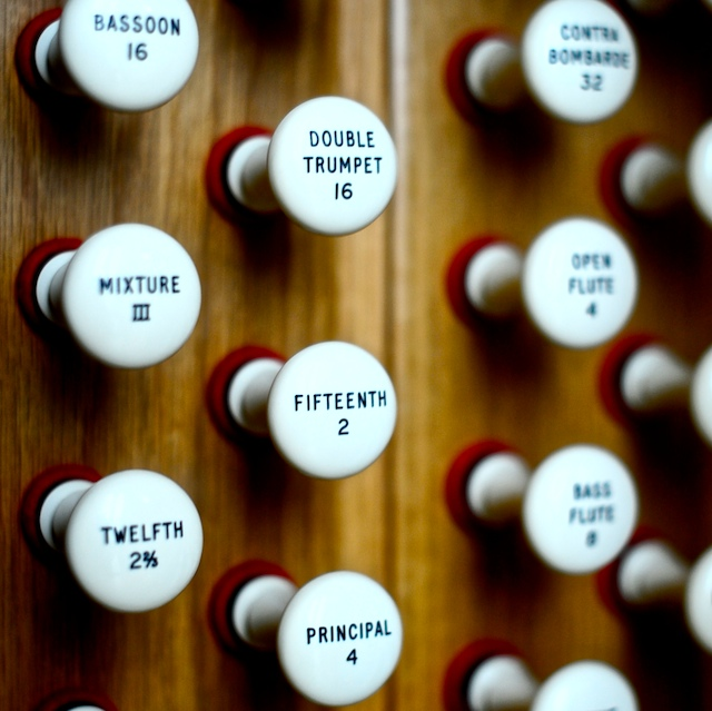 Close up of Organ stops