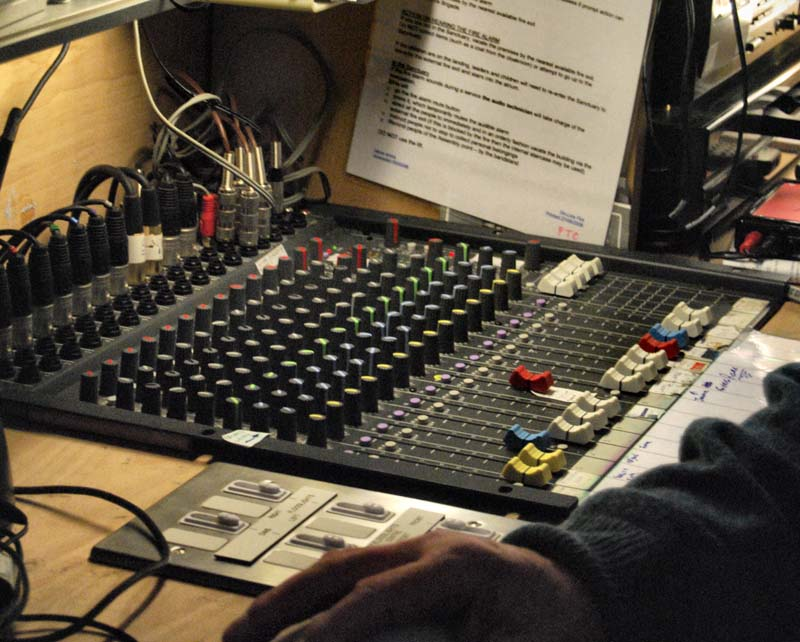The sound mixing desk