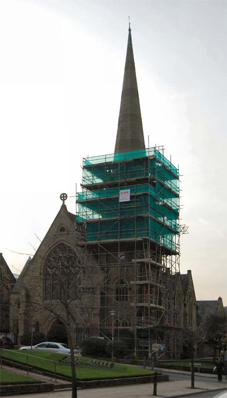 Scaffolding around the base of the spire