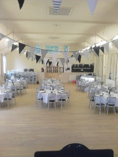 Hall decorated for wedding reception