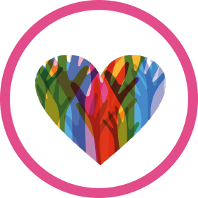 Intercultural logo, heart shape made up by different coloured hands within a pink ring