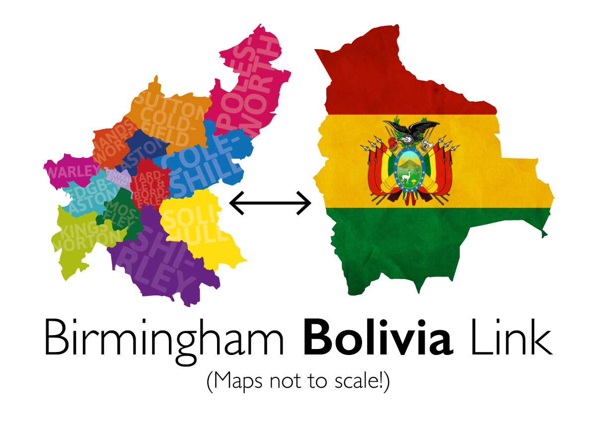 colourful cut out of  the Birmingham districts with an arrow towards a cut out of Bolivia with the flag overlayed with the text