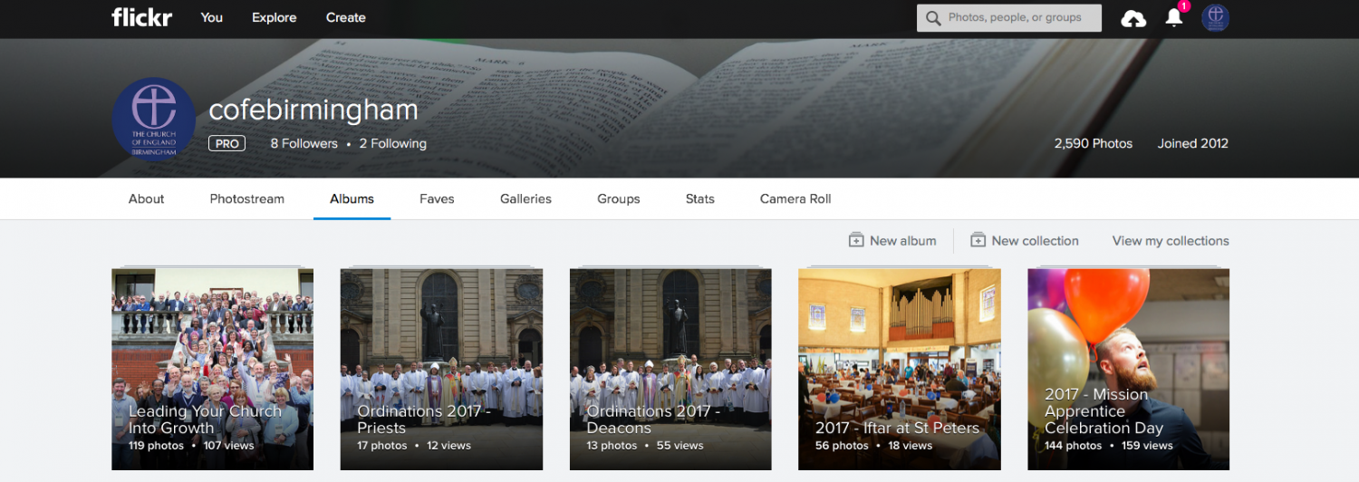 Screenshot of Church of England Flickr page