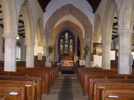 A view of the altar and choir stalls