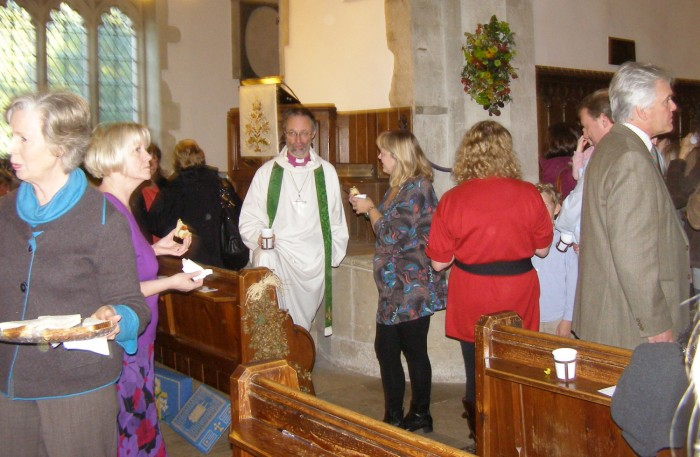 The Bishop enjoys a cup of tea