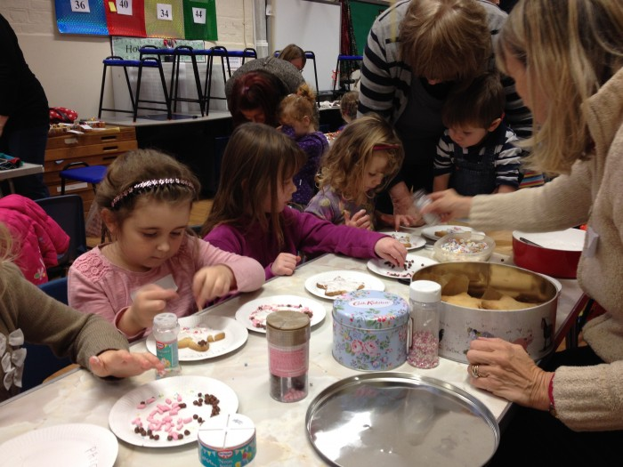 Decorating star biscuits