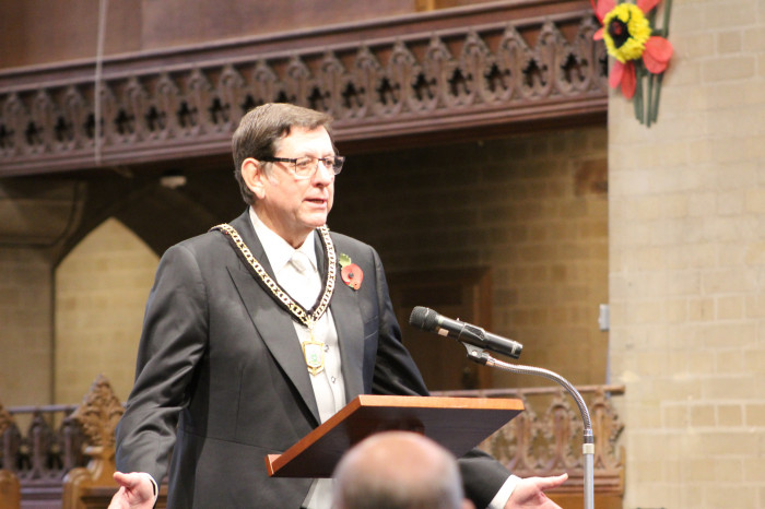 Cll Alan Cartwright, Deputy Mayor of Bromley, opens the Peace Festival