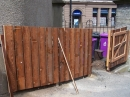 The bin fence complete with opening gate.