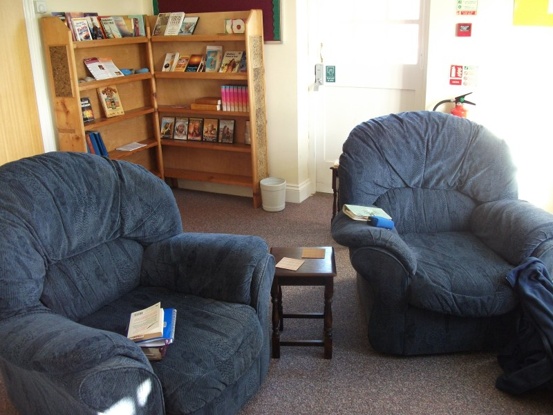 comfortable chairs and plenty of prayer resources