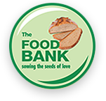 foodbank mk logo, green circle with a loaf of bread and the food bank MK, sewing the seeds of love