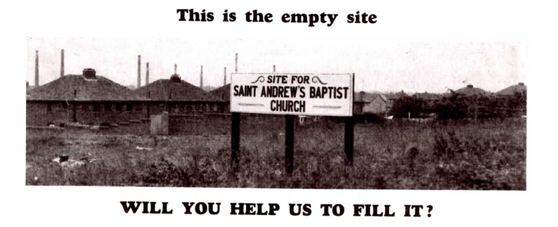 The empty site of what is now St Andrews Baptist Church