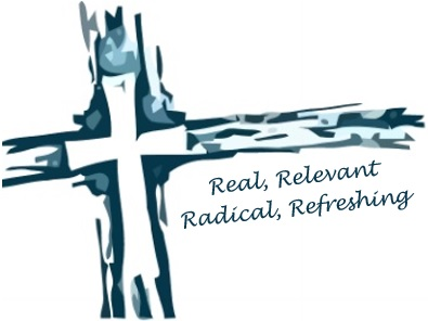 Church Logo: Cross with real, relevant, radical, refreshing underneath.