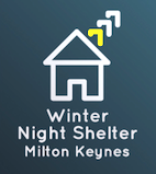 winter night shelter logo, blue rectangle with a white house outline and words winter night shelter milton keynes
