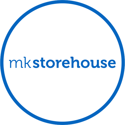 mk storehouse, white circle with blue outline with words mk storehouse