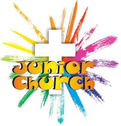 Junior Church logo, rainbow paint stripes coming our of a white cross with the words Junior Church on top