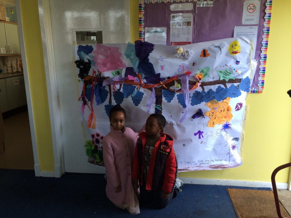 Children of Junior Church and their painting of bible stories