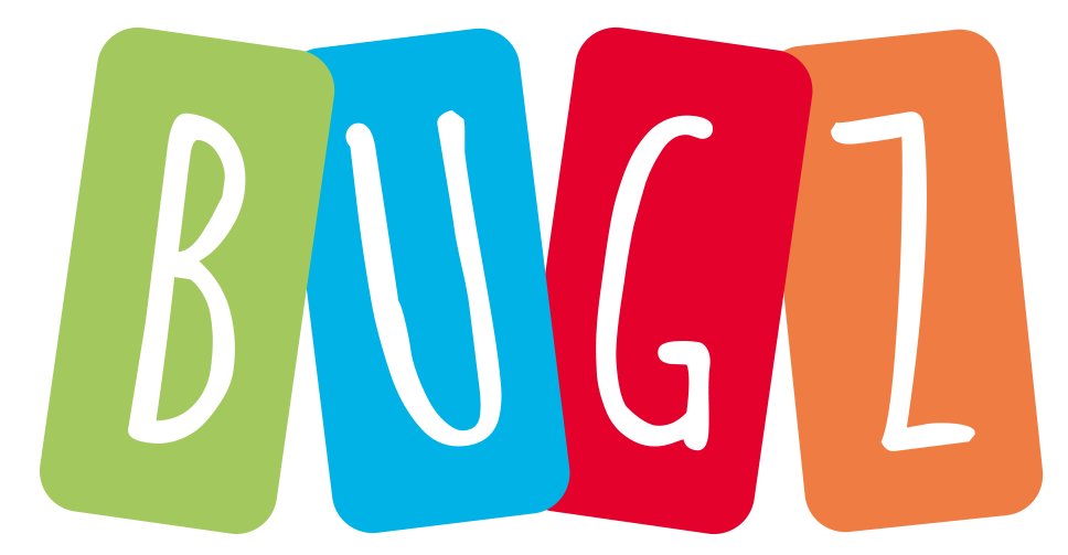 bugz logo, domino shaped tiles in green, blue, red and orange with each letter of BUGZ