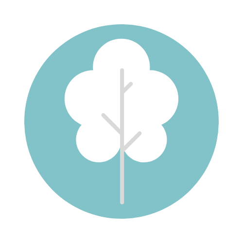 dedication logo, teal background with a white cartoon tree