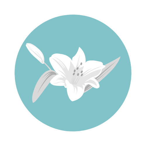 funeral logo, teal circle with a white lily flower