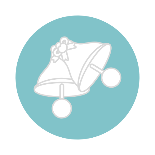 wedding logo teal circle with two white cartoon bells with a bow