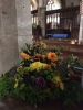 Harvest flowers in St Andrew's church.