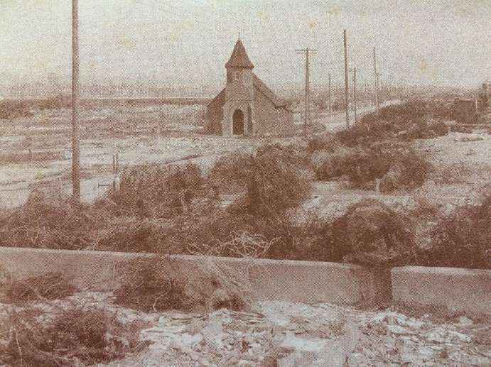 The Church of the Good Shepherd, Shoreham Beach, during World War II, when the beach was cleared of buildings