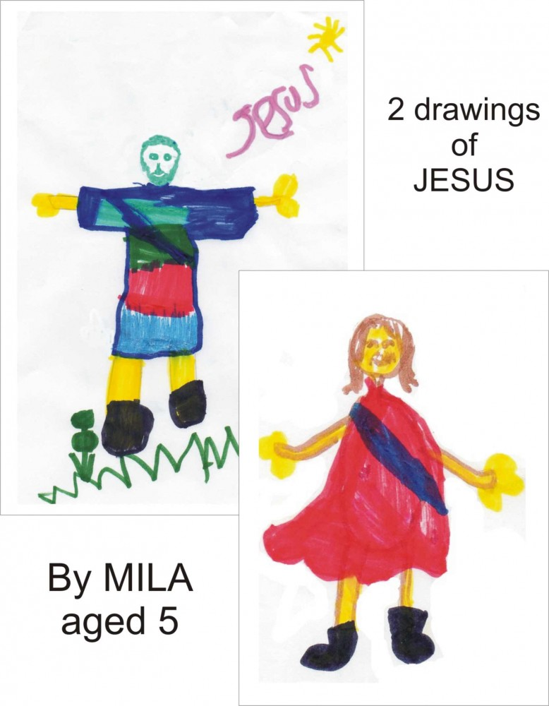 Drawings of Jesus by Mila, aged 5