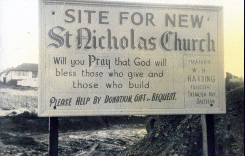 Sign for site of new Church