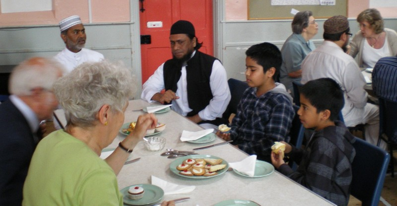 tea with visitors from the local mosque
