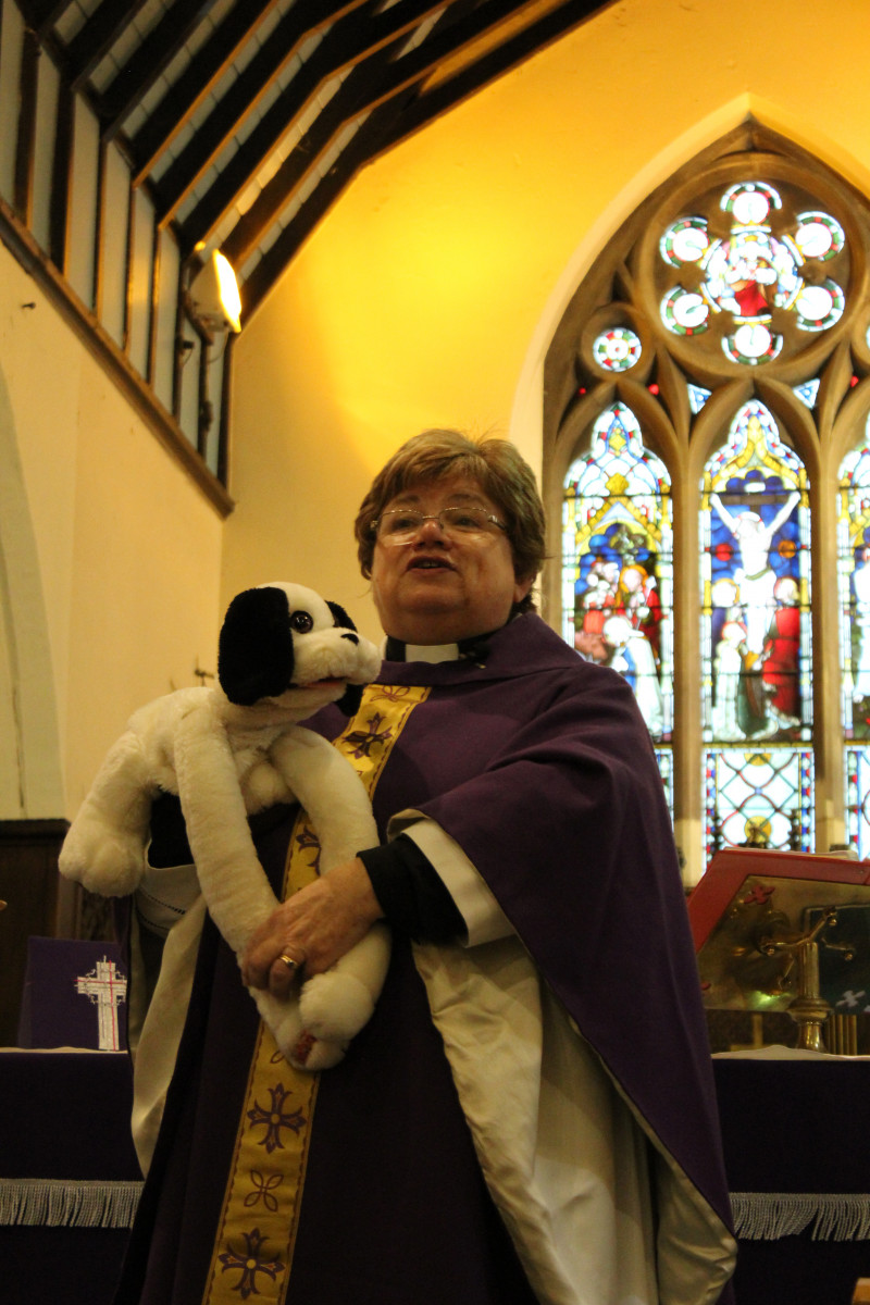 Rev Janet Bacon and Abel the dog
