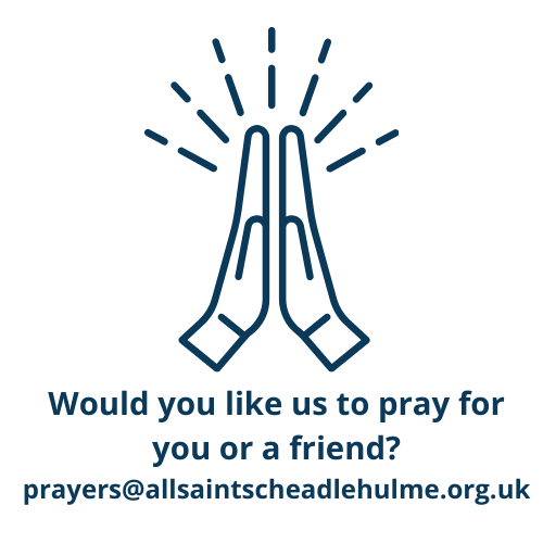 A graphic of two praying hands