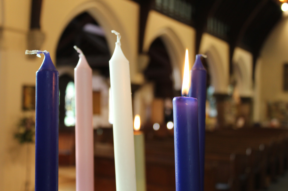 Advent candles at All Saints Cheadle Hulme