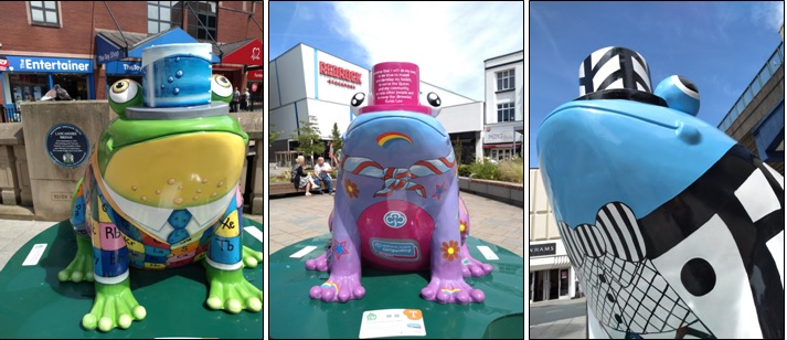 A photo of three frogs from the Stockport Frog Trail