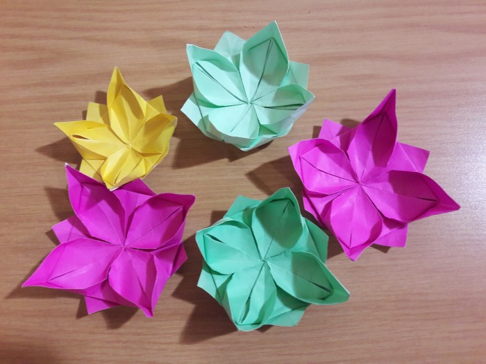 Colourful origami flowers made by the Craft Group