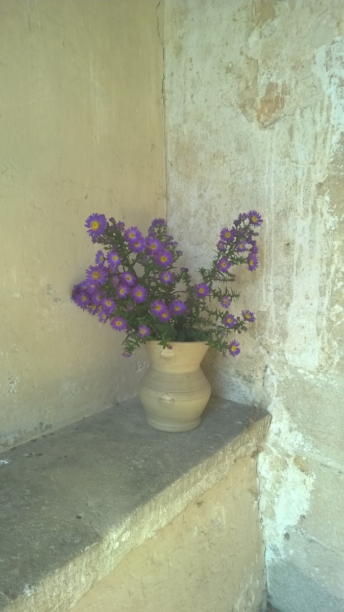 Flowers in the porch of All Saint's Shorncote