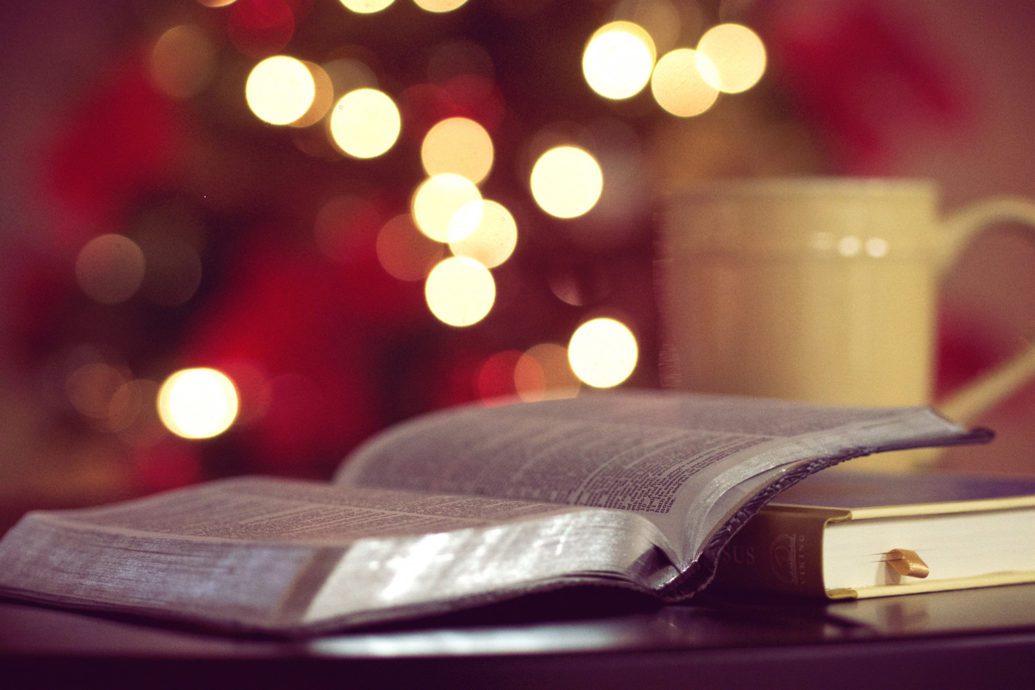 Bible, Lights and Mug of coffee