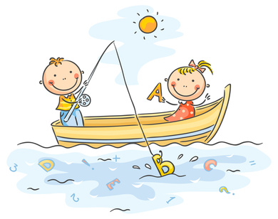 Illustration of boy and girl in fishing boat fishing out letters