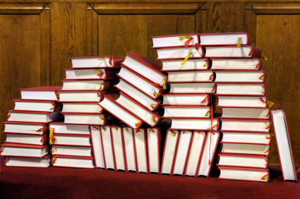 Photo of Stack of hymn books in church