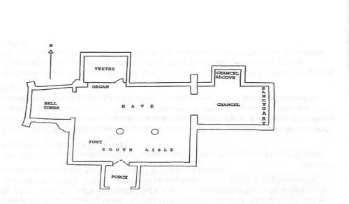 Floor plan of St. Matthew's Church Coates
