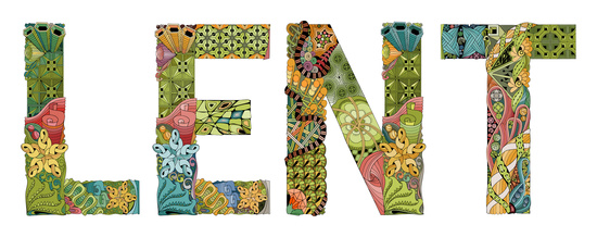 The word Lent made from Patchwork letters