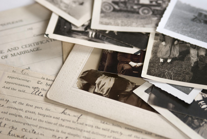 Photo of photographs and old documents
