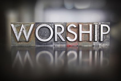 Photo of printers blocks spelling the word 'Worship'