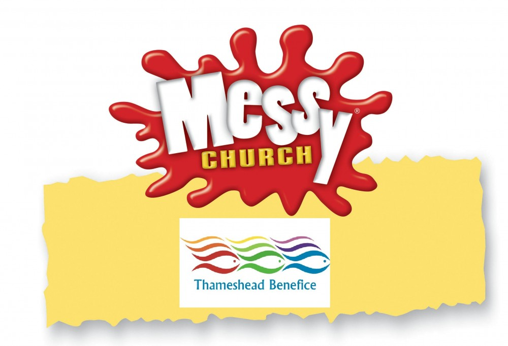 Messy Church logo with Thameshead Benefice logo inserted below.