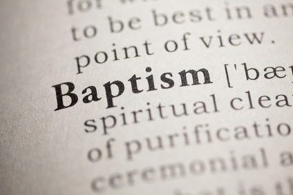 Photo of dictionary page focused on the word 'Baptism'.