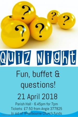 yellow balls with question marks at the top of the poster with Quiz Night in blue and information as in the text