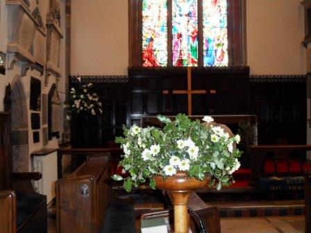 Easter flowers in the church