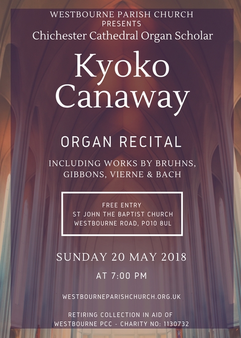 poster of the organ recital with bronze colour background showing a church roof