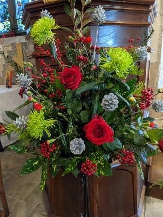 Floral arrangement on the pulpit site of the church