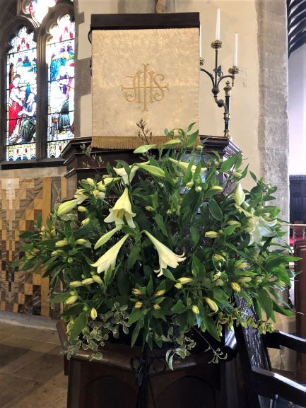 Easter flowers display in church