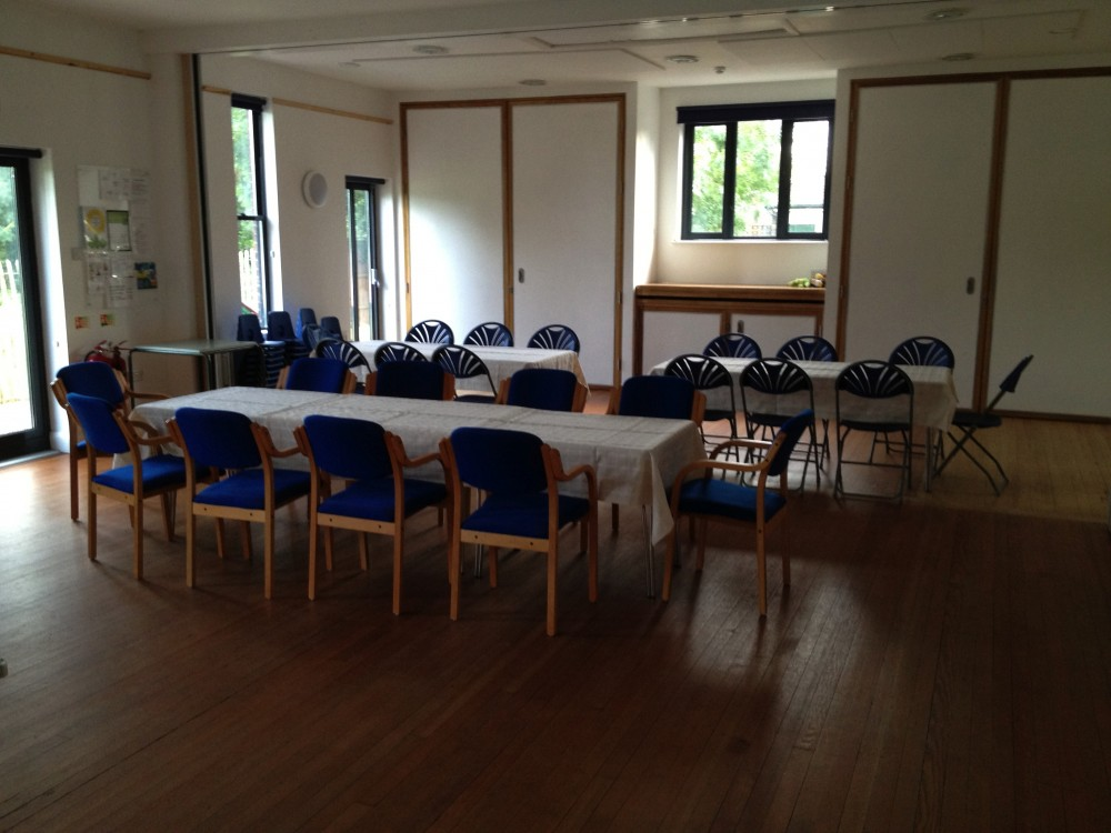 parish hall set up for a meeting
